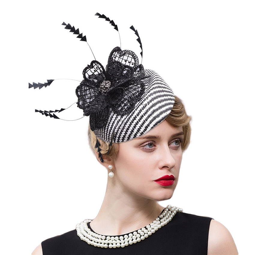Sinamay Fascinator Hat Black Feather Women Headbands Ladies Fascinator Piilbox Hats for Kentucky Derby Church Wedding Party