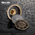 10cm Vintage Artistic antique Brass round Floor drain Shower Floor Drain Trap Waste Grate With Hair Strainer anti smelly drains