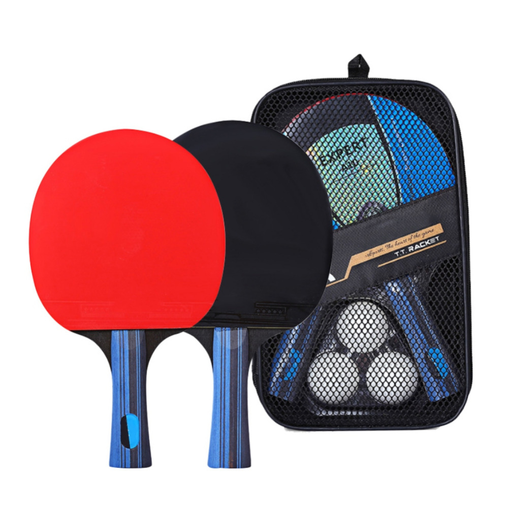 Professional Carbon Fiber Table Tennis Racket Blade - Horizontal Shot / Long Handle One + Square Pack One + Box Ball TX005