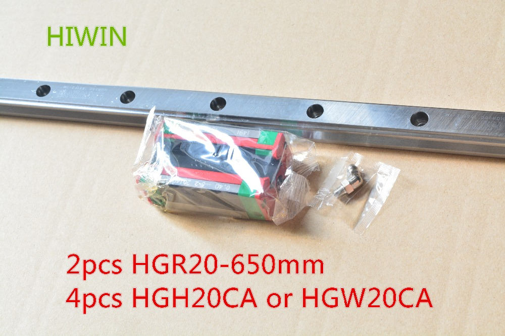 HIWIN Taiwan made 2pcs HGR20 L 650 mm 20 mm linear guide rail with 4pcs HGH20CA or HGW20CA narrow sliding block cnc part 2pcs taiwan hiwin rail hgr20 400mm linear guide 4pcs hgh20ca carriage cnc parts made in mainland china