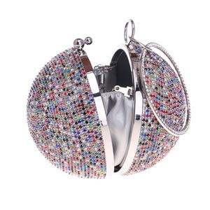 Image 3 - 女性ゴールドフルクリスタルクラッチ財布ボール形クラッチ女性ハンドバッグ結婚式の財布チェーンショルダーバッグZD1044