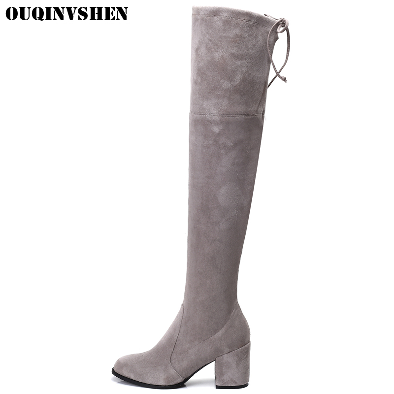 OUQINVSHEN Flock Women Boots Round Toe Square heel Ladies Girl Knee Boots Casual Fashion Winter New Keep Warm High Heels Boots 2016 new arrival 15cm ladies motorcycle autumn and winter boots round toe 6 inch high heel boots sexy flock buckle boots