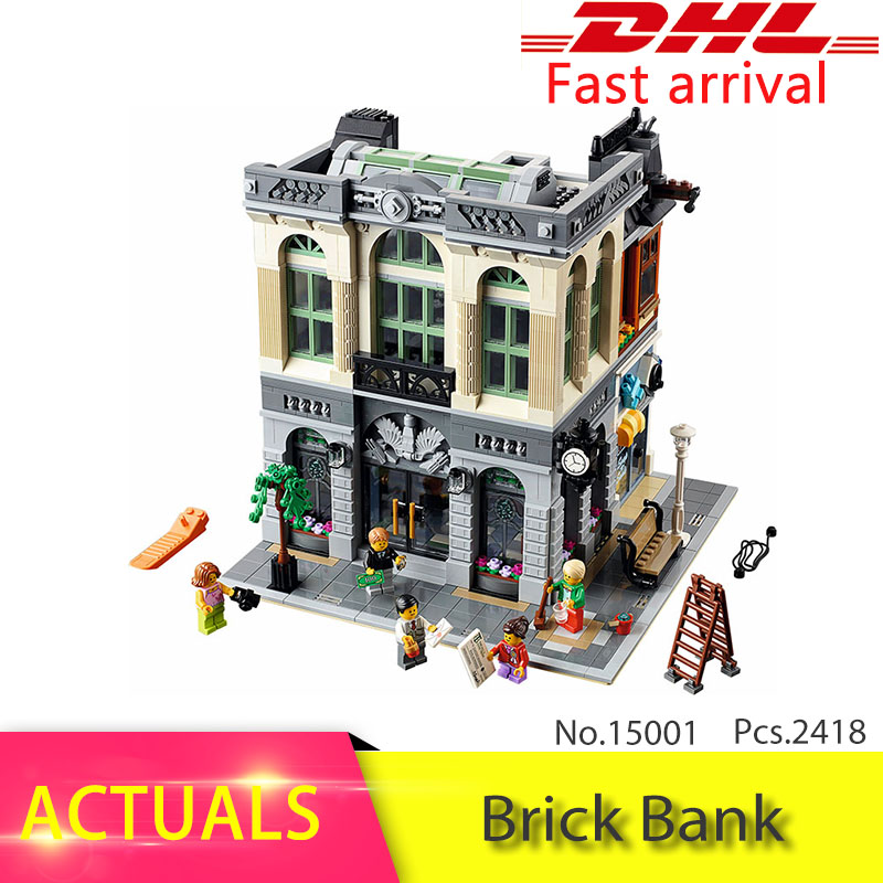 Lepin 15001 2380Pcs CREATOR series Brick Bank Model Building Blocks Set Bricks Toys For Children Educational Gift 10251 lepin 15004 2313pcs city creator series fire brigade model building blocks bricks toys for children gift compatible 10197