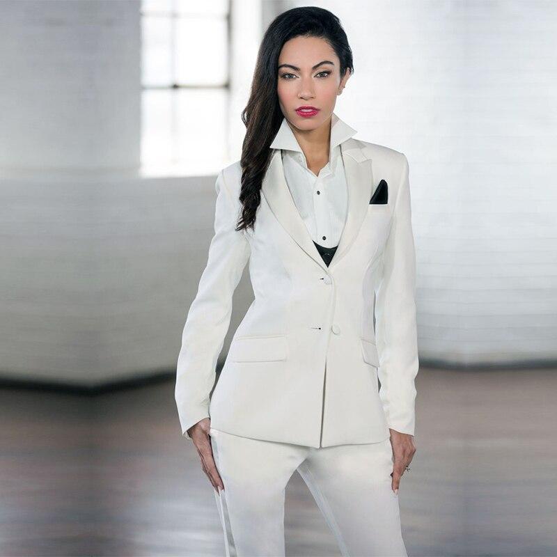 New White Elegant Formal Work Wear Slim 2 Piece Sets Womens Business Suits Two Button Blazer Female Trousers Suit Office Uniform