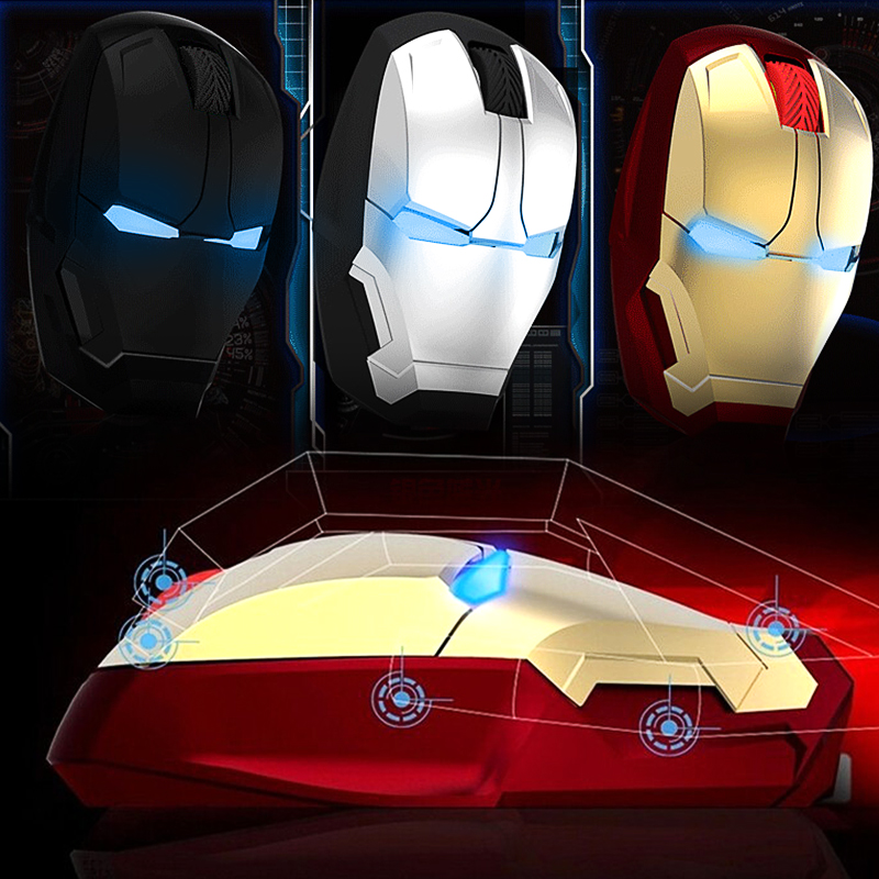 Details about Iron Man Mouse Wireless Gaming Gamer Computer Mice Silent  Button Click 2 4g USB