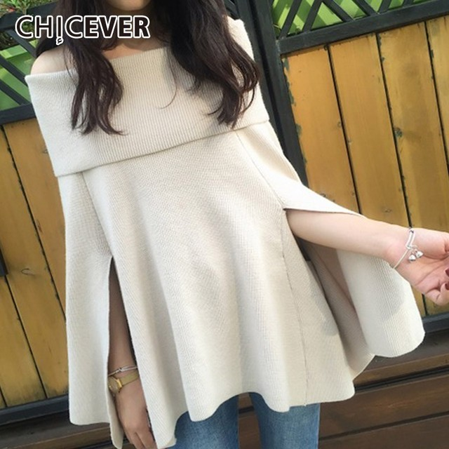 3b2c4fc6e9d CHICEVER Off Shoulder Sweater For Women Slash Neck Batwing Long Sleeve  Knitting Pullovers Tops Female Korean Fashion Clothes New