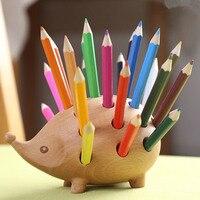 Hedgehog forma de madeira caneta titular criativo adorável papelaria decoração função suprimentos de armazenamento de escritório com 24 cores lápis