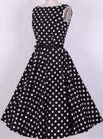 Envío de la gota mujeres dress verano 2017 bohemio prom vestidos de niña s-6xl polka dot dress uk diseñado rock and roll swing partido