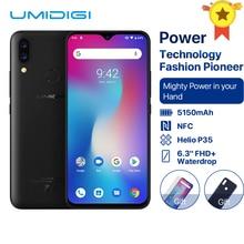 UMIDIGI 電源アンドロイド 9.0 5150 3000mah の大バッテリー 18 ワット 6.3 FHD + 水滴画面 4 ギガバイト + 64 ギガバイトエリオ P35 グローバルバージョンのスマートフォン 16MP