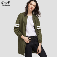 Dotfashion Olive Green Striped Sleeve Longline Zip Up Bomber Jacket 2017 Coat Woman Stand Collar Zipper Top Autumn Jacket
