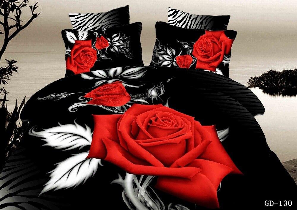3 7 piece 100 organic cotton red and black rose bedding duvet - Set De Chambre King Noir