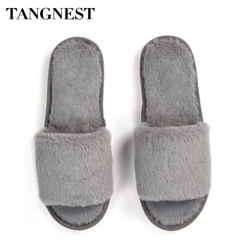 Tangnest Warm Indoor Plush Slippers For Men Women Winter Soft Bottom Home Shoe Unisex Comfortable Floor Slippers 5 Colors XWT527 warm plush big feet pattern fully wrapped indoor slippers for winter