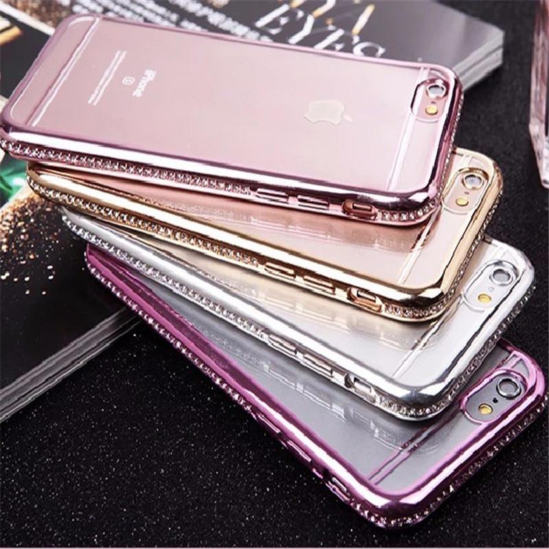 Galjanoplastia del diamante cubierta para iphone 7 7 plus case para iphone 6s 6