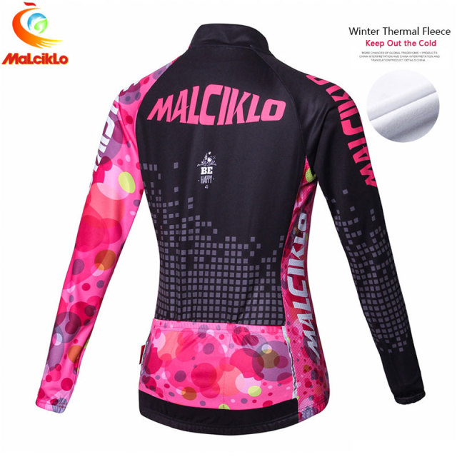 Malciklo Pro Fabric Winter Fleece Cycling Suit Jersey Women's Long Sleeve Bicycle Cycling Clothing Bike Wear Maillot Ropa Set