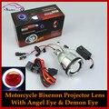 Мотоцикл Фар AC 12 В 35 Вт HID Биксенон Объектив Проектора Комплект Для Модернизации с Angel Eye Halo Демон Дьявол Глаза H1 H4 H7 9005