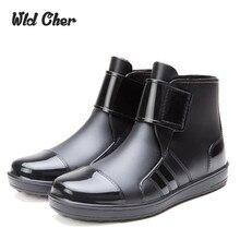 Botas de goma 2017 Impermeable De Moda de La Jalea de Lluvia Del Tobillo de Arranque Banda Elástica Color Sólido de Lluvia Zapatos de Los Hombres Zapatos Casuales 39-44