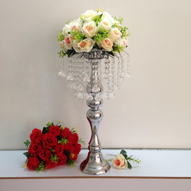 58cm Tall Silver Metal Flower Vase Flower Stand With Crystal Beads