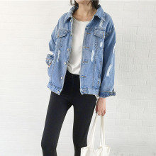 2019 Women Basic Coat Denim Jacket Women Winter Denim