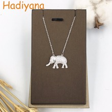 HADIYANA Elephant Shape Cute Pendant Necklace Custume jewelry Lovely CZ Stones Brand Designer White Gold Lady XL146