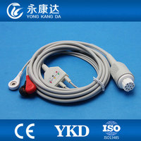 One piece 10Pin 3leads ECG cable and leadwires with snap for Datex,AHA,,CE&ISO13485