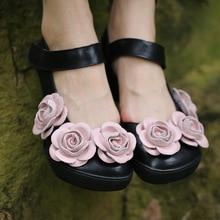 Высокое качество; коллекция года; женская летняя обувь из натуральной кожи с цветочным узором на низком каблуке; женские босоножки; 181-2