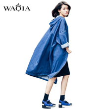 2016 Women's Coats Spring and Autumn BF Style Street Fashion Hooded Solid Female Coat Trench Long Denim Coat Trench Coats S M L