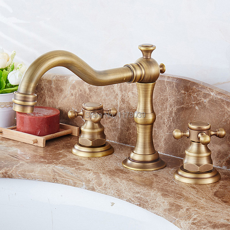 European Antique Brushed Bronze 3 Hole Dual Handle Widespread Bathroom Faucet Split Body Cross