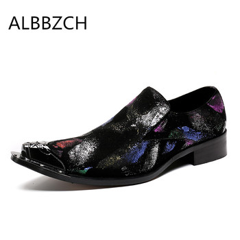 Spring summer mens fashion printing leather casual shoes men loafers pointed toe slip on wedding dress shoes career work shoes
