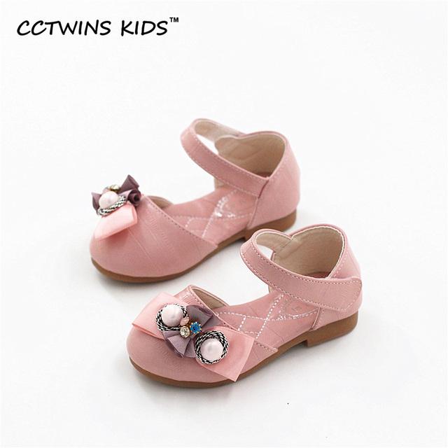 CCTWINS CRIANÇAS 2017 Crianças de Verão Moda Branco Pérola Sapato Criança Pu de Couro Da Marca Garoto Baby Girl Pink Bow Praia Sandália B676