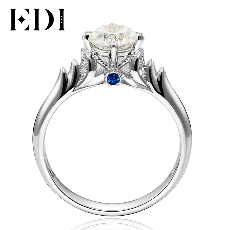 EDI Rings Angel Swan 0.8CT Round Cut Moissanites Diamond 14K 585 White Gold Wedding Engagement Ring For Women Jewelry