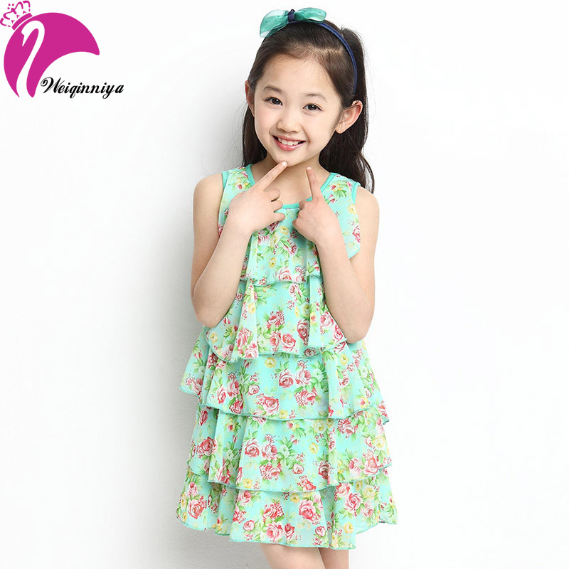 New Style 2017 Baby Girl Sleeveless Dress Chiffon Cool Summer Floral Flower Draped Dresses Vestido Infantil Kids Clothes Hot girl dress 2 7y baby girl clothes summer cotton flower tutu princess kids dresses for girls vestido infantil kid clothes