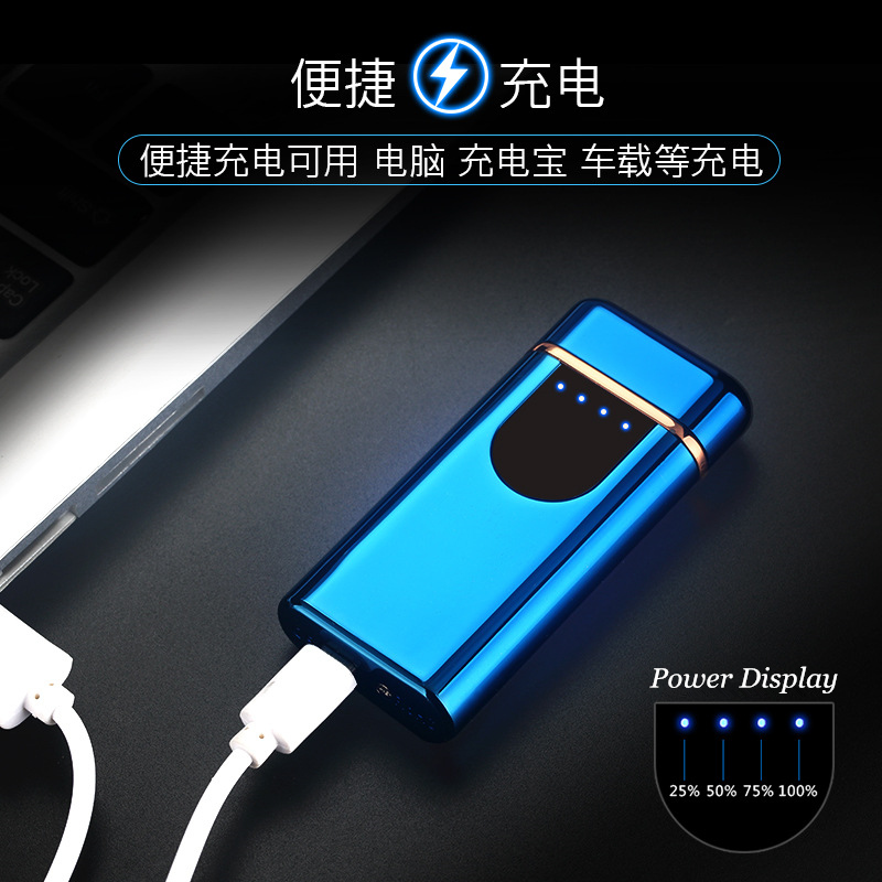 Image 3 - New USB Electric Dual Arc Lighter Rechargeable Windproof LED Power Disaplay Dual Thunder Pulse Cross Plasma Free Laser Logo-in Cigarette Accessories from Home & Garden
