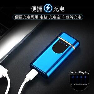 Image 3 - Nowy USB elektryczny podwójny zapalniczka łukowa akumulator wiatroodporny LED Power Disaplay podwójny grzmot Pulse krzyż plazma bezpłatne logo wycinane laserem