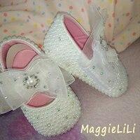 Envío de freee Blanco Rhinestone de la perla del bebé zapatos del niño suaves únicos niños zapatos inferiores suaves de la princesa bling de Zapatos de Niña,