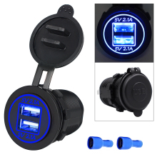 Dual USB Motorcycle Car Cigarette Lighter Auto Car Charger Socket Charger w LED Digital Voltmeter Meter for Motorbike Motorcycle urbanroad motorcycle boat car cigarette lighter power adapter usb socket charger usb dual charger 5v 3 1a for motorbike auto
