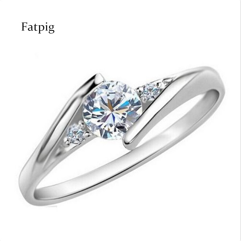 Fashion rings women Jewelry Fatpig Brilliant Wedding Silver Plated Rings with CZ Charm Jewelry Gifts