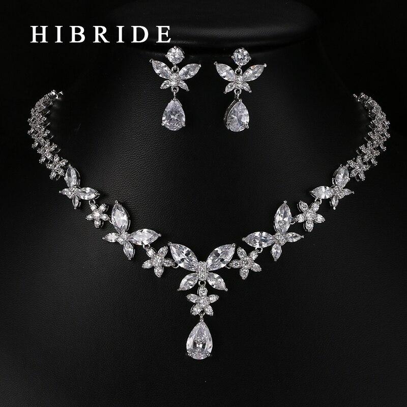 HIBRIDE Classic Water Drop Shape AAA Cubic Zirconia Pendants Bridal Women Wedding Jewelry Sets N 64