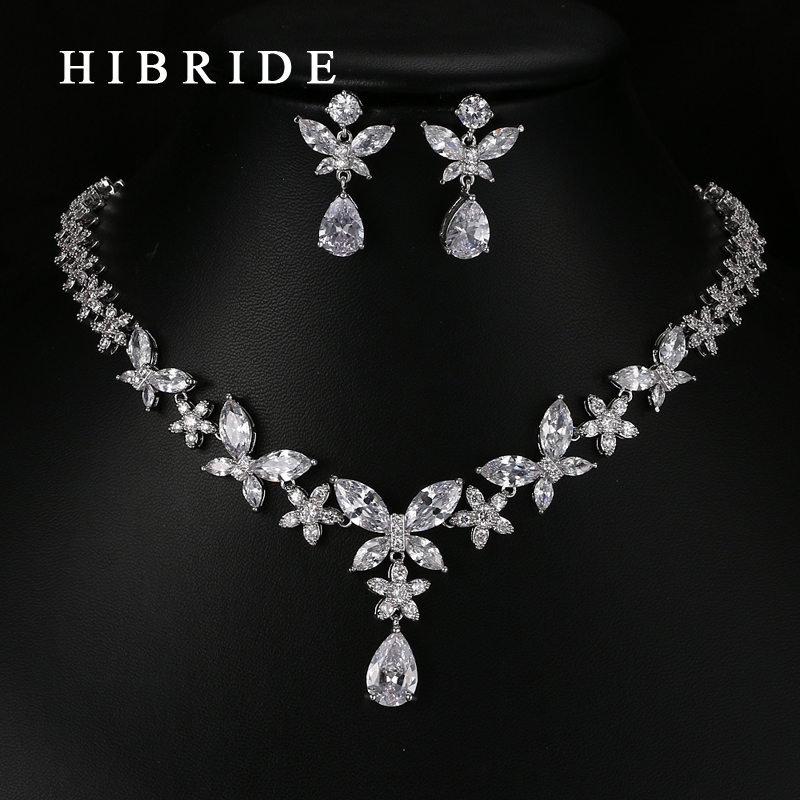 HIBRIDE Classic Water Drop Shape AAA Cubic Zirconia Pendants Bridal Women Wedding Jewelry Sets N-64 hibride luxury top quality white green water drop shape cubic zirconia jewelry sets white gold color necklace earrings n 057