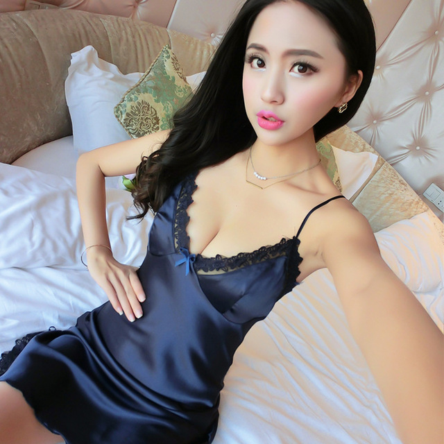 d13a3321c7 White Red Black Blue Sexy Silk Satin Slip Low-cut Nightgowns Women Sleepwear  V Neck Lace Halter Night Sleeping Dress Night wear