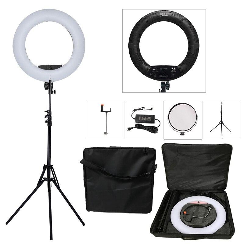 Yidoblo черный FS 480II 2 вида цветов настроить камеру фото/Studio/телефон/видео 18 48 Вт 480 LED кольцо светодиодные лампы + 2 м штатив + мягкая сумка