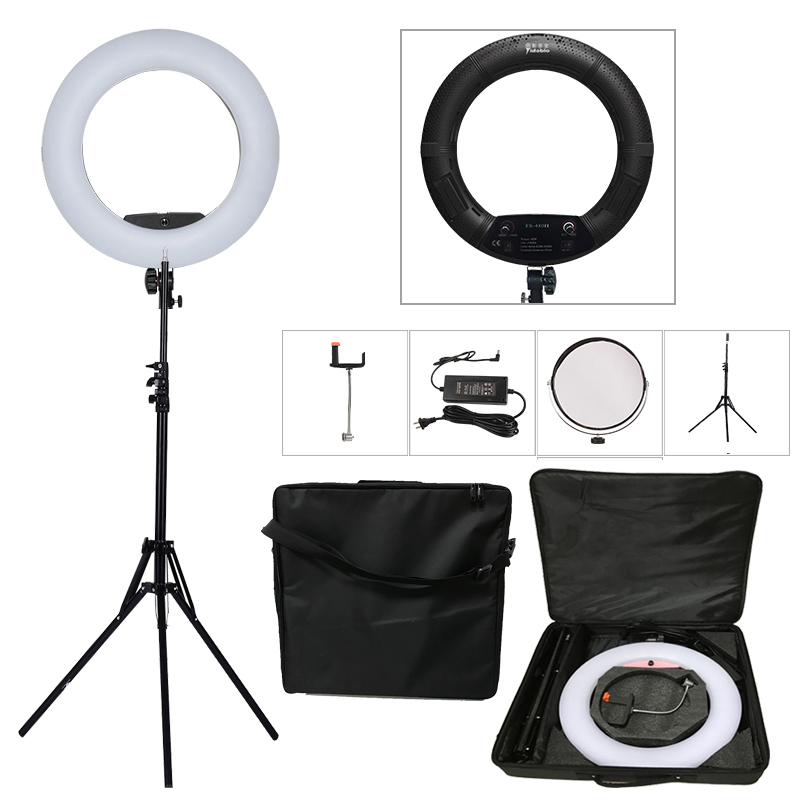 Yidoblo Black FS-480II 2 Colors adjust Camera Photo/Studio/Phone/Video 1848W 480 LED Ring Light LED Lamp+ 2M tripod +Soft bag