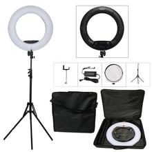 """Yidoblo Schwarz FS-480II 2 Farben einstellen Kamera Foto/Studio/Telefon/Video 18 """"55 Watt 480 LED Ring Licht LED Lampe + 2 Mt stativ + Weiche tasche"""