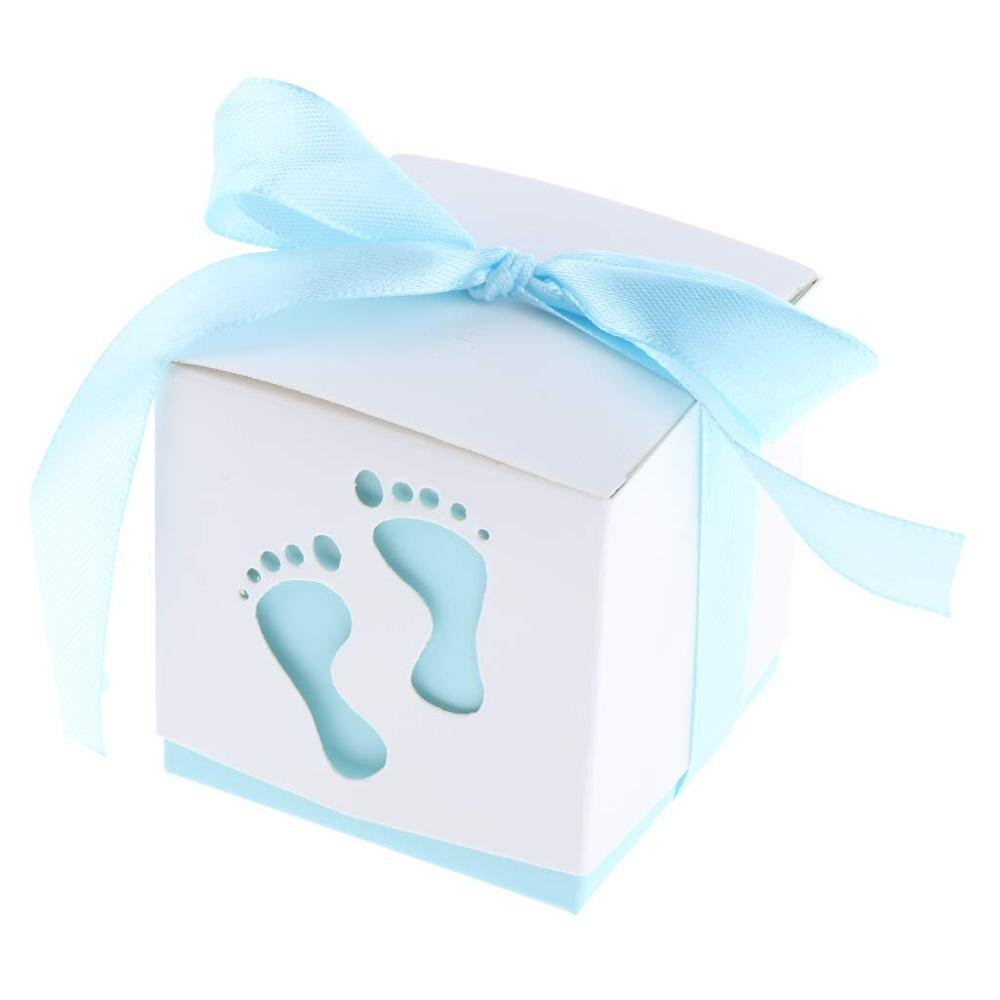 50pcs Baby Footprints Paper Candy Box With Ribbon Birthday Party Decoration Baby Shower Wedding Favors Packaging Gift Boxes