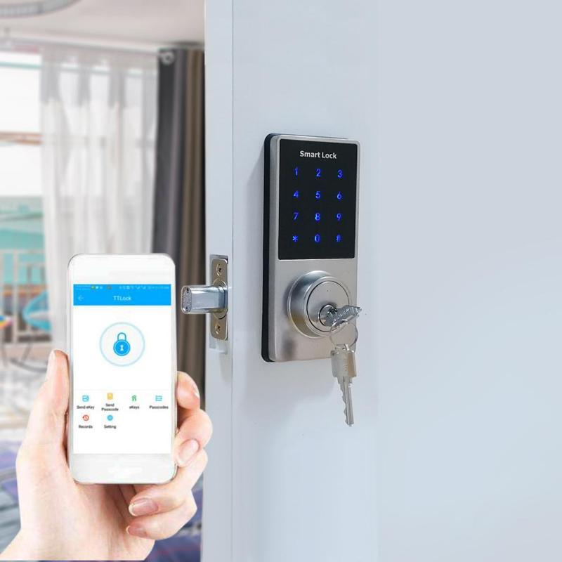 ALLOYSEED Mobile Phone APP Bluetooth Intelligent Door Lock Electronic Password Lock Security Door Handle Key+Password+Bluetooth