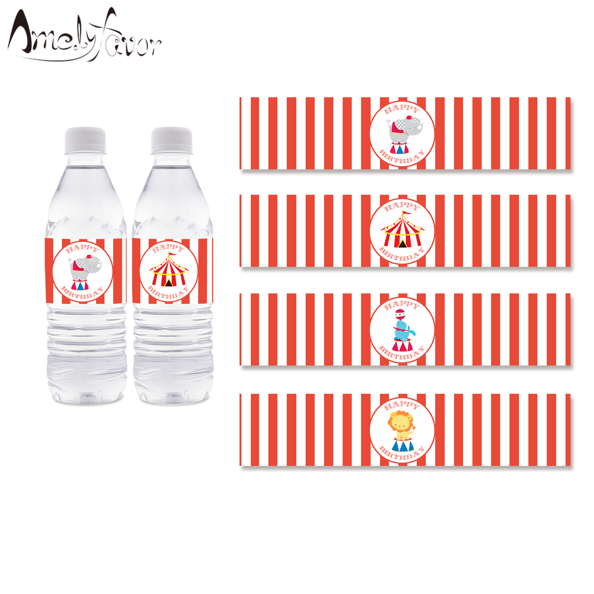 Carnival Circus Clown Fair ~ Water Bottle Labels ~ Birthday Party Baby Shower