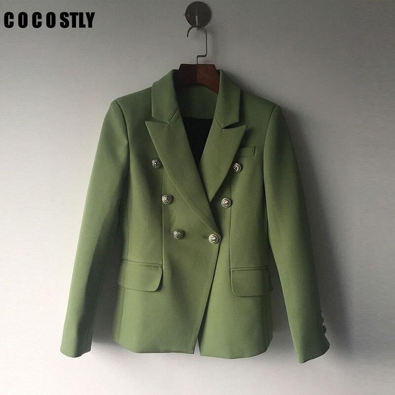 Feminino Or Manteau Extérieure À Femmes Vert Bureau Blazer Designer Boutons 2018 Boutonnage Double Costume Qualité Haute 0qwS77