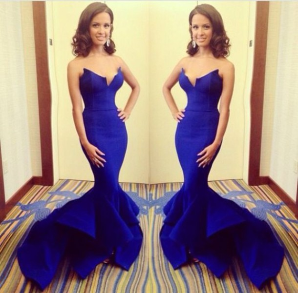 Robe De Soiree Sweetheart Strapless Open Back Sexy Party Dress Royal Blue Long Mermaid Evening Dress