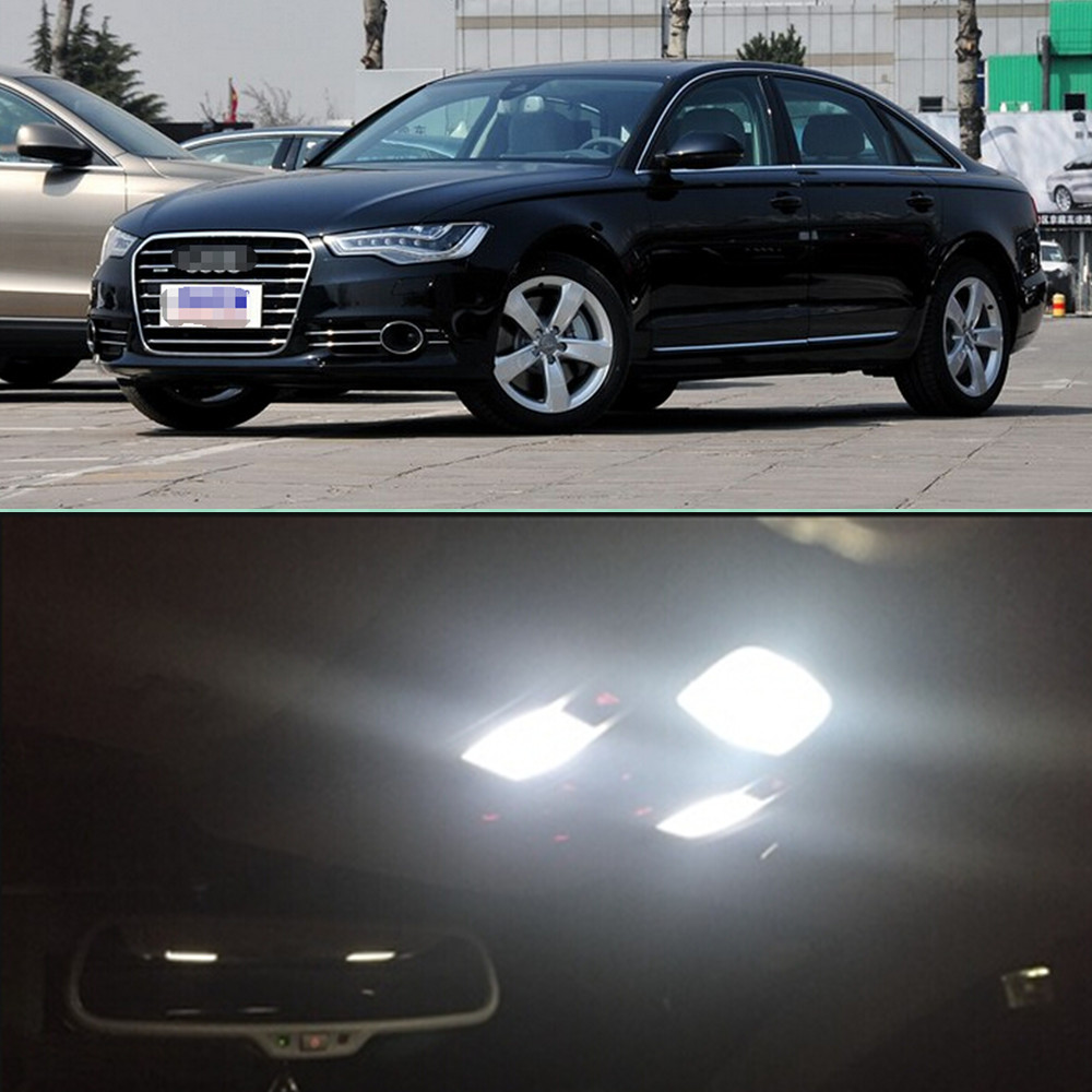 Car LED 9pcs Per Set LEDs Bulb Interior  Dome Map Trunk Vanity Mirror Glove Box Lights Package Kit For Audi A6L 2012 Car Stying super bright car styling 9pcs car led kit interior glove box light for 2014 2015 kia sorento trunk dome map license plate lights