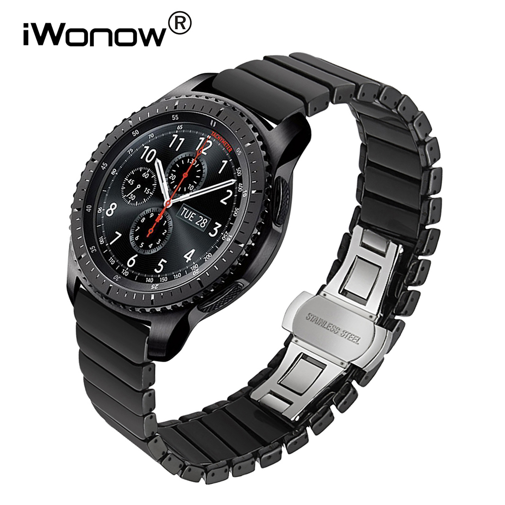 Glossy Ceramic Watchband 22mm for Samsung Gear S3 Classic Frontier R760 R770 Sports Smart Watch Band Steel Butterfly Clasp Strap for samsung gear s2 classic black white ceramic bracelet quality watchband 20mm butterfly clasp