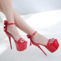 Size 34 High Heels16cm Stripper Shoes Sexy Red Sandals Summer Wedding Party Shoes Fashion Stiletto Platform High Heel Sandals